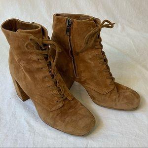 Vince Halle suede lace up boots cedar brown 7